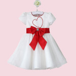 Baby Girls Love Tulle Dress Bowknot Short Sleeve Skirt Baby & Mother Care