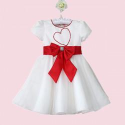 Baby Mädchen Liebe Tüll Kleid bowknot Kurzarm Rock