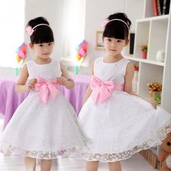 Baby Piger Prinsesse Kjole Bow-tie Crew Nakke Nederdel