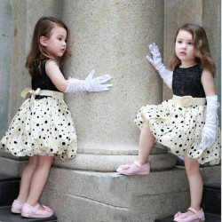 Baby Girls Princess Polka Dot Flower Bubble Prom Dresses