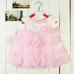 Baby Girls Princess Rose Dress Suspenders Pleated Skirt