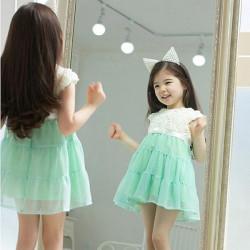 Baby Flicka Prinsessa Rose Snöre Bow Sommar Chiffongklänning Pageant