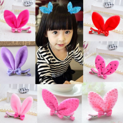 Baby Girls Rabbit Ear Hair Clip Bow Colorful Accessories