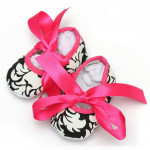 Baby Girls Soft Sole Printed Damask Bow Cotton Crib Shoes 0-18M Baby & Mother Care