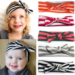 Baby Girls Stretch Striped Headband Rabbit Bow Turban