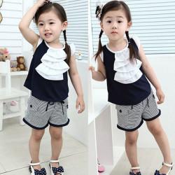 Baby Piger Sommer Beklædning Set Kortærmet Striped Suit
