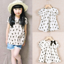 Baby Girls Summer Fawn Bow Short Sleeve Sleeveless Tops