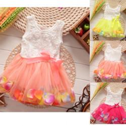 Baby Girls Summer Rose Colorful Tutu Princess Dress