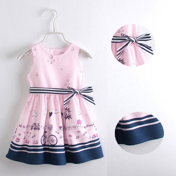 Baby Girls Summer Stripe Belt Casual Bow Princess Dress Baby & Mother Care