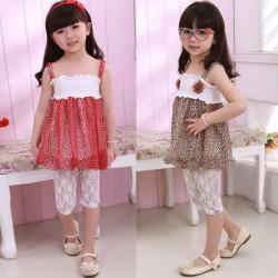 Baby Girls Sundress Polyester Dress Summer Leopard Braces Skirt
