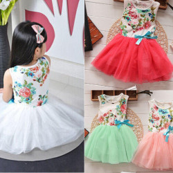 Baby Girls Tulle Bow Flowers Print Floral Dress Princess Tutu Skirt