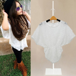 Baby Flicka White Snöre Prinsessa Batwing Sleeve Tops