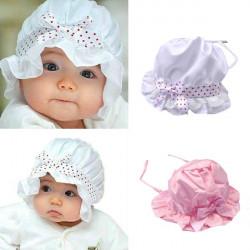 Baby Hat Sunbonnet Lace Blomst Sol Hat Prinsesse Hat Satin Cap