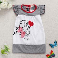 Baby Kind Karikatur Hundekleid Baumwollkurzschluss Hülsen Rock
