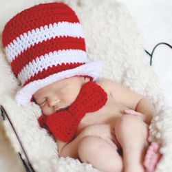 Baby Infant Crochet Hat Bow Photography Prop Set