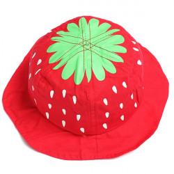 Baby Spædbarn Pige Strawberry Bomuld Bucket Hat Sol Visor Cap
