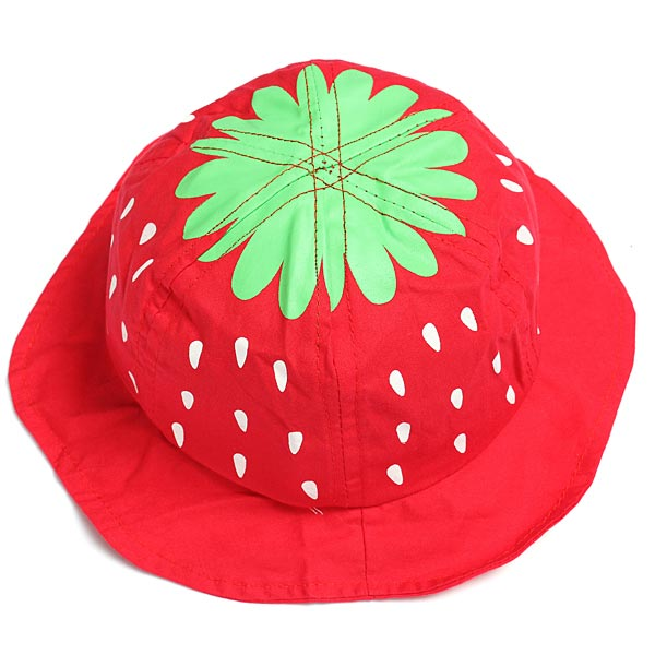 Baby Spædbarn Pige Strawberry Bomuld Bucket Hat Sol Visor Cap Børn  & Babyudstyr