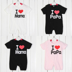 Baby Kind Love Mom Papa Body Baumwolle Kurzarm Overall
