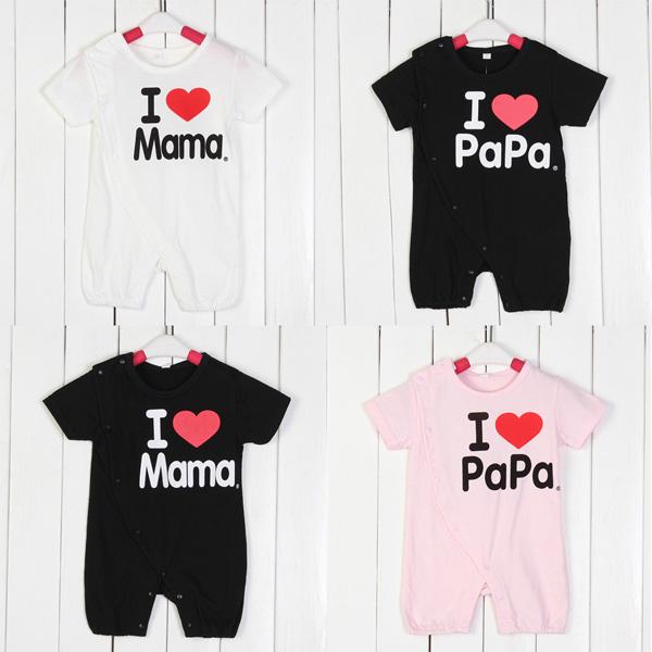 Baby Spædbarn Kærlighed Mom Daddy Romper Bomuld Kortærmet Jumpsuit Børn  & Babyudstyr