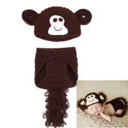 Baby Spädbarn Apa Virkade Kostym Photo Prop Kläder