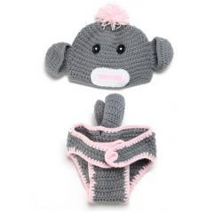 Baby Spädbarn Gris Virkade Kostym Photo Prop Kläder