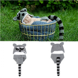 Baby Säuglings Waschbär Crochet Kostüm Fotografie Prop Bekleidung