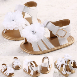 Baby Infant Summer Flower Prewalker White Soft Sole Shoes
