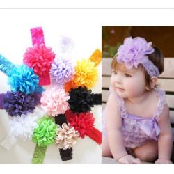Barn Flickor Chiffong Spets Mjuk Elastic Stor Blomma Pannband