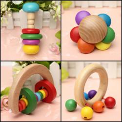 Baby Kind Holz Handbell Musikerziehung Instrument Bell Geklapper Spielzeug
