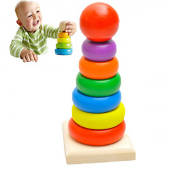 Baby Kid Wooden Stack Up Nest Rainbow Tower Ring Educational Toy