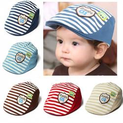 Baby Kids Baseball Cap Summer Hat Beret Cotton Stripe Beret Punk Cap
