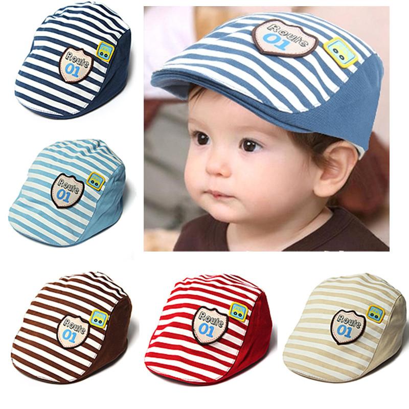 Baby Kids Baseball Cap Summer Hat Beret Cotton Stripe Beret Punk Cap Baby    Mother Care 25783ffe725
