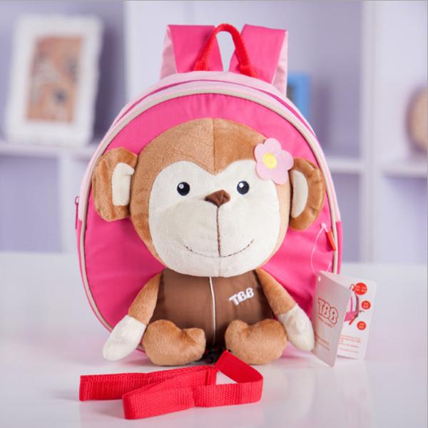 Baby Børn Tegneserie Dukke Pink Monkey Anti-tabt Skoletaske Skuldertaske Børn  & Babyudstyr