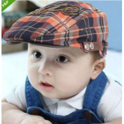 Baby Børn Drenge Fashion Check Beret Cap Peaked Hat