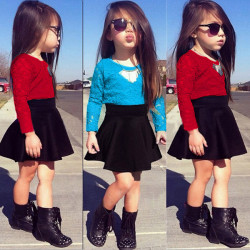 Baby Kids Girls Blue Red Lace Blouse Waist Big Swing Skirt Suit