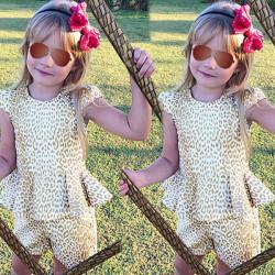 Baby Kind Mädchen Kleidung stellte 2stk Outfits Leopardenmuster Oberteile Hosen