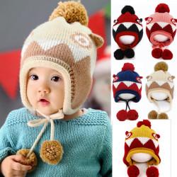 Baby Barn Värm Mössa Knitted Ylle Beanie Mössor Boll