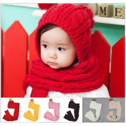 Baby New Style Knitted Hat & Scarf Children Conjoined Cap