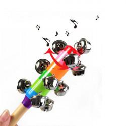 Baby Regenbogen Krippe Griff aus Holz Glocke Stick Shake Rattle Spielzeug