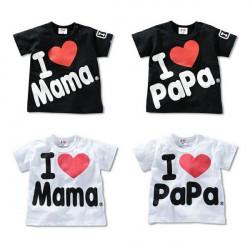 Baby Kurzarm T Shirt Ich liebe Papa Mama Kind Kleidung