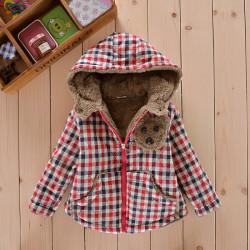 Baby Toddler Bear Fleece Coat Zipper Warm Plaids Jacket