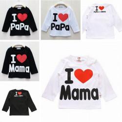 Baby Toddler Long Sleeve T-Shirt I Love Papa Mama Tops