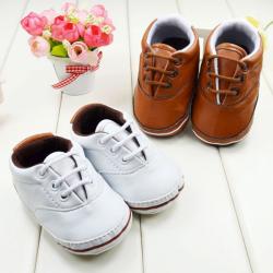 Bebis Småbarn PU Läder Sneaker Mjuk Sole Skor