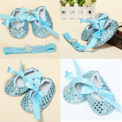 Baby Toddler Snow Bling Crib Shoes Headband Soft Sole Prewalker