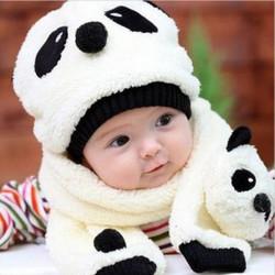 Baby Winter Velvet Cartoon Panda Hat +Scarf Sets