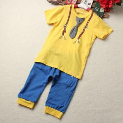 Pojke Bomull Kläder Kortärmad Tie Print Top Tee + Short Byxor