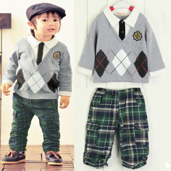 Boys Children Long Sleeve Cotton Checks Sports Outfits And Sets