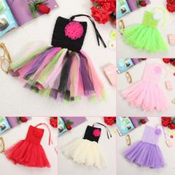 Süßigkeit Farben Baby Kind Mädchen Blumen Rüschen Princess Crochet Tutu Kleid