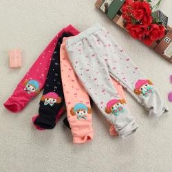 Child Baby Girl  Bowknot Print Warm Leggings Velvet Cartoon Pants