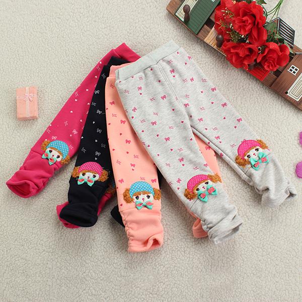 Barn Baby Flicka Rosett Print Varm Leggings Velvet Tecknade Byxor Barnprodukter